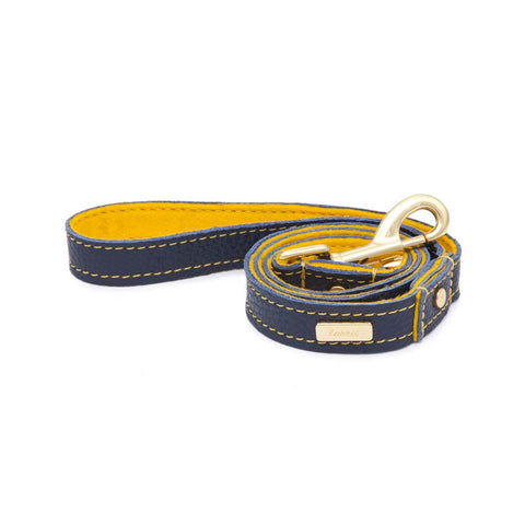 Dog Leash in Soft Blue Leather with Wool felt - lurril