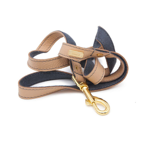 Dog Leash in Soft Champagne Leather with Wool felt - lurril