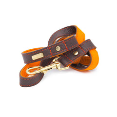 Dog Leash in Soft Chocolate Brown Leather with Wool felt - lurril