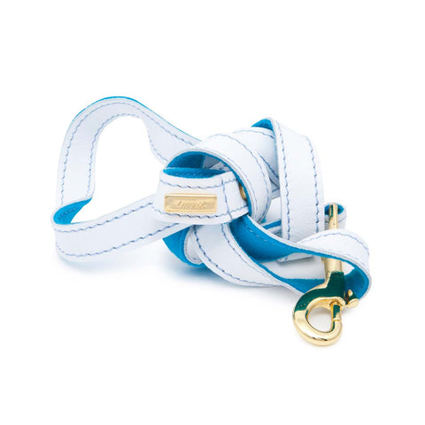 Dog Leash in Soft White Leather with Wool felt