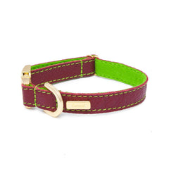 Dog Collar in Soft Red Leather with Wool felt - lurril