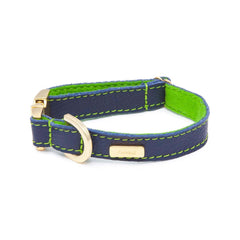 Dog Collar in Soft Blue Leather with Wool felt - lurril