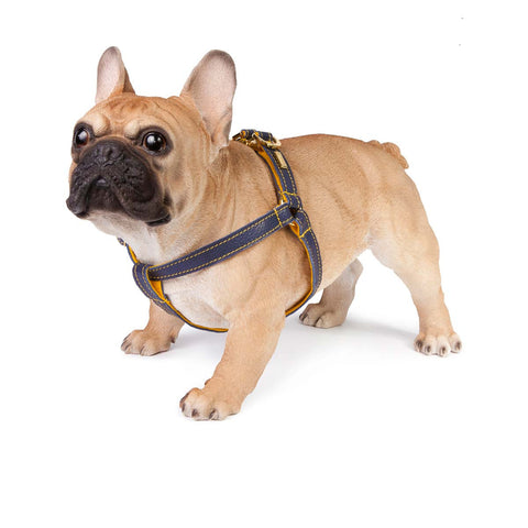 Dog Harness in Soft Blue Leather with Wool felt - lurril
