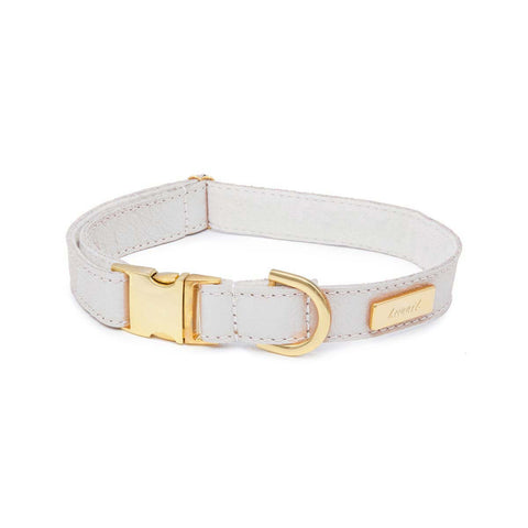 Dog Collar in Soft White Leather with Wool felt - lurril