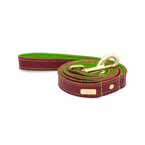 Dog Leash in Soft Red Leather with Wool felt - lurril