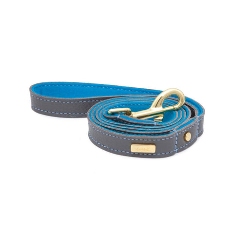 Dog Leash in Soft Zinc Leather with Wool felt - lurril