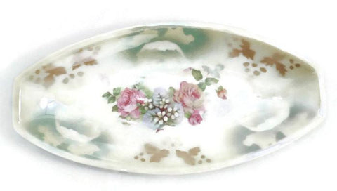 Antique Oval Floral China Dish - [vintage and antiques], Duckwells