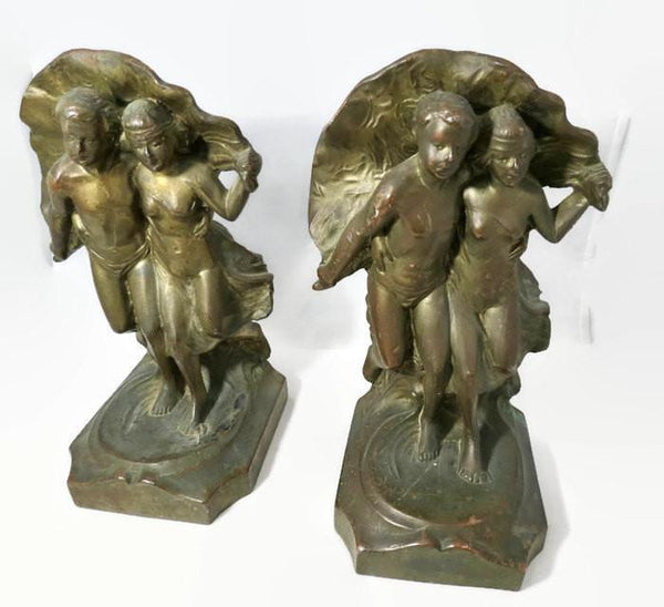 Antique Bookends - Art Nouveau Couple - [vintage and antiques], Duckwells