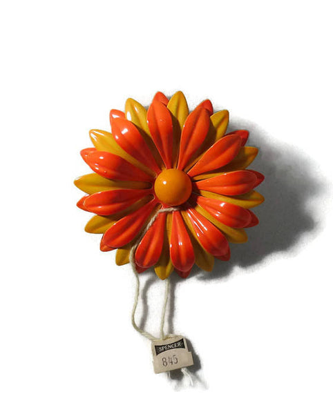 Vintage Enamel Mod Flower Pin, Mid Century Orange and Yellow Brooch, Original Tag, Retro Flower Power Pin