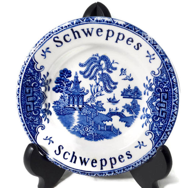 Vintage Bar Tip Dish, English Schweppes Enoch Wedgwood Ceramic Coaster, Blue and White Advertising, Promotional Barware