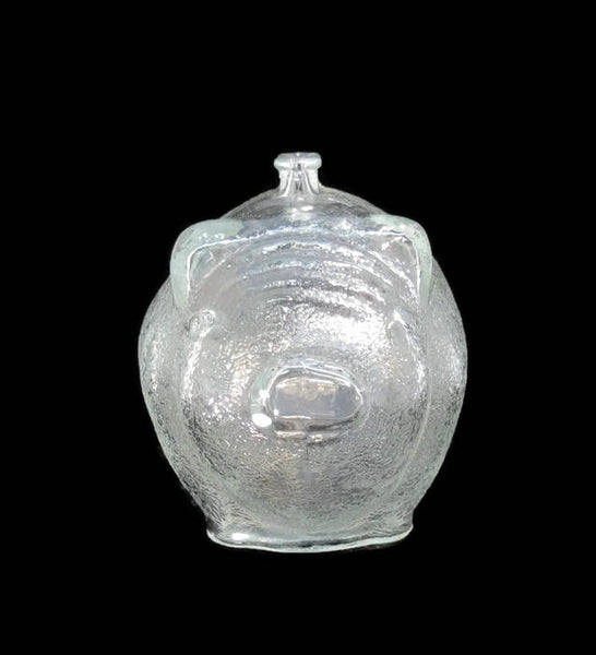 Vintage Glass Piggy Bank - Anchor Hocking Mottled Clear Glass - Duckwells