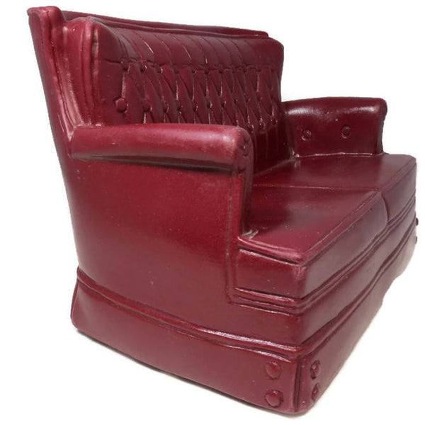 Vintage Marx Sofa Couch, Miniature Marx Toy Sofa, Sindy Doll Furniture, Mini Tufted Maroon Sofa, Doll Living Room Decor, Louis Marx 1978