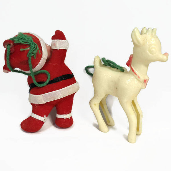 Christmas Ornaments, 1950s Mid Century, Retro Holiday Decor, Tree decoration, Holiday Decor, Santa Claus Reindeer