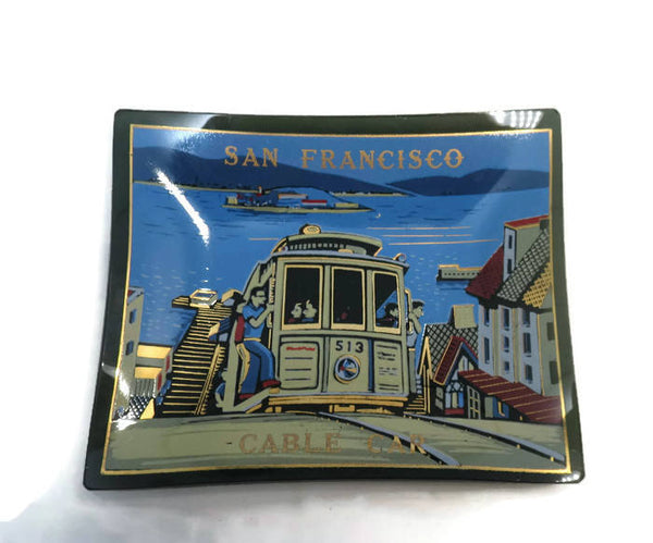 Vintage Smoked Glass Dish - San Francisco Cable Car, Mid Century Modern Black Glass Dish, Great Graphics, Mod Retro Home Decor Pin Tray