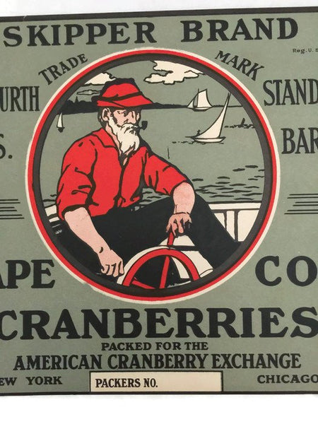 Vintage Cape Cod Cranberries Fruit Crate Label - Duckwells