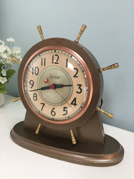 Vintage Nautical Clock, Sessions Ships Wheel, Wood Shelf Clock - Duckwells