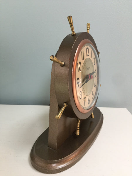 Vintage Nautical Clock, Sessions Ships Wheel, Wood Shelf Clock - [vintage and antiques], Duckwells