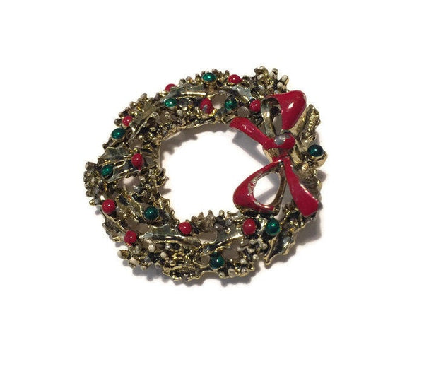 Christmas Wreath Pin - [vintage and antiques], Duckwells