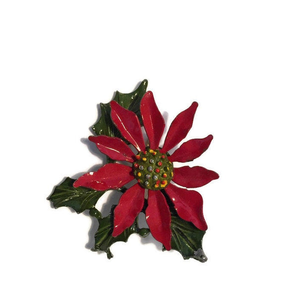 Vintage Christmas Poinsettia Pin - Duckwells