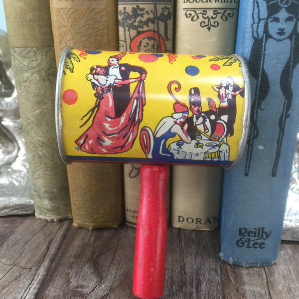 Vintage Tin Litho Noisemaker by US Metal Toy Manufacturing Company, Party Noise Maker
