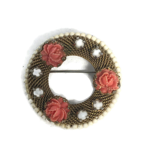 Vintage Coral Rose Goldtone Mesh Wreath Pin - Duckwells