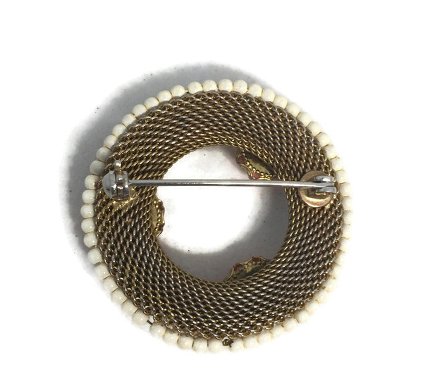 Vintage Coral Rose Goldtone Mesh Wreath Pin - [vintage and antiques], Duckwells