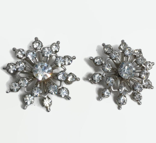 Vintage Rhinestone Brooches - Small Snowflake Sparkly Scatter Pins - Duckwells
