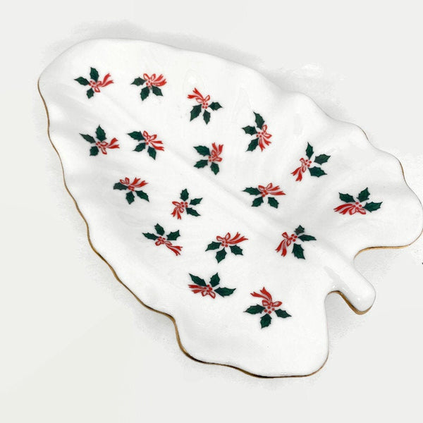 Vintage Lefton White Ceramic Christmas Tree Dish - Duckwells