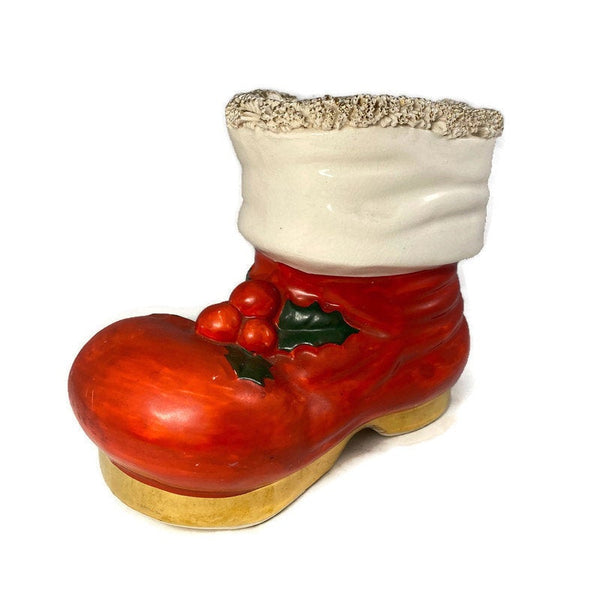 Vintage Christmas Ceramic Bank, Santa's Boot Holiday Collectible - Duckwells