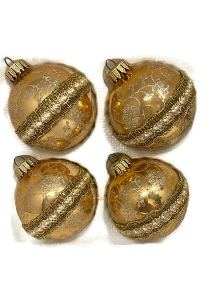 Vintage Bohemian Glass Christmas Ornaments