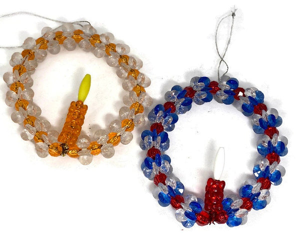 Mid Century Beaded Holiday Decorations,  Plastic Bead Work - Duckwells