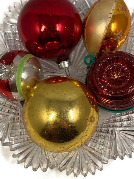 Midcentury Glass Christmas Ornaments, Gold and Red Tree Decorations - Duckwells