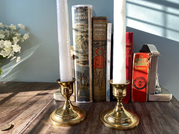 Vintage Brass Candlesticks, Pair of Short Candle Holders - Duckwells