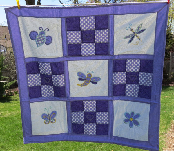 Baby Girl Quilt - Homemade Baby Quilt, Patchwork Quilt, Nursery Bedding, Purple and White, Butterflies, Dragonflies, Bees, Flowers,
