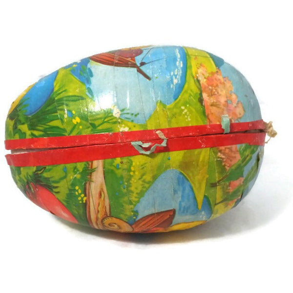 Vintage German Easter Egg - Paper Mache Egg, Candy Container Made in Western Germany, Chicks and Snail,