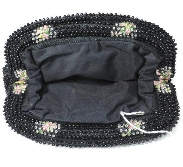 Vintage Black Floral Corded Beaded Purse - Evening Bag, Cell Phone Holder-Duckwells