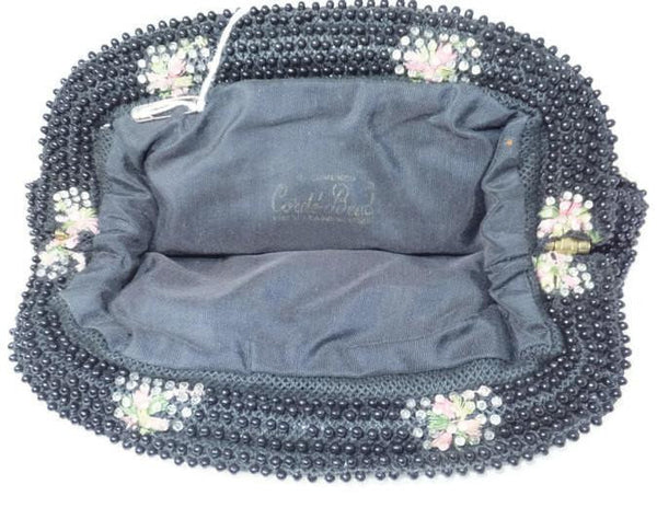 Vintage Black Floral Corded Beaded Purse - [vintage and antiques], Duckwells