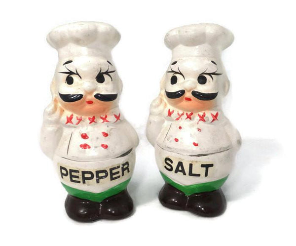 Vintage Ceramic Hand Painted French Chefs Salt and Pepper Shakers-Duckwells