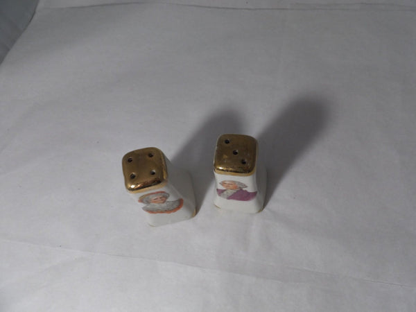 Vintage George and Martha Washington Ceramic Salt and Pepper Shakers-Duckwells