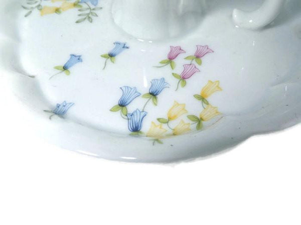 Vintage Limoges Candleholder - Haviland, France, White Porcelain Scalloped Edges, Blue, Pink and Yellow Floral Pattern-Duckwells
