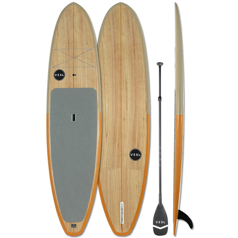 VESL Paulownia Eco Series Ultra-Lite Paddle Board Package Brown/Orange 10'2 - Semi Gloss - BOARDS