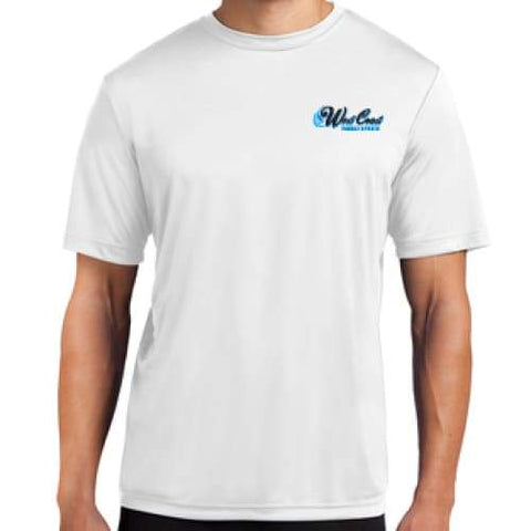WCPS BLUE LOGO WHITE T-SHIRT 50/50 - West Coast Paddle Sports