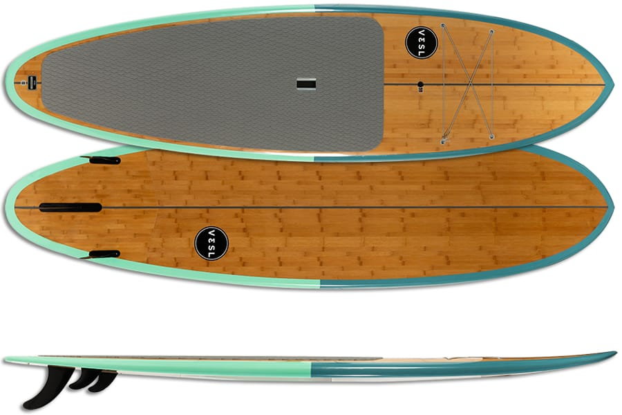 VESL Bamboo Eco Series Ultra-Lite Paddle Board Package Emerald Bay 10'6- GLOSSY