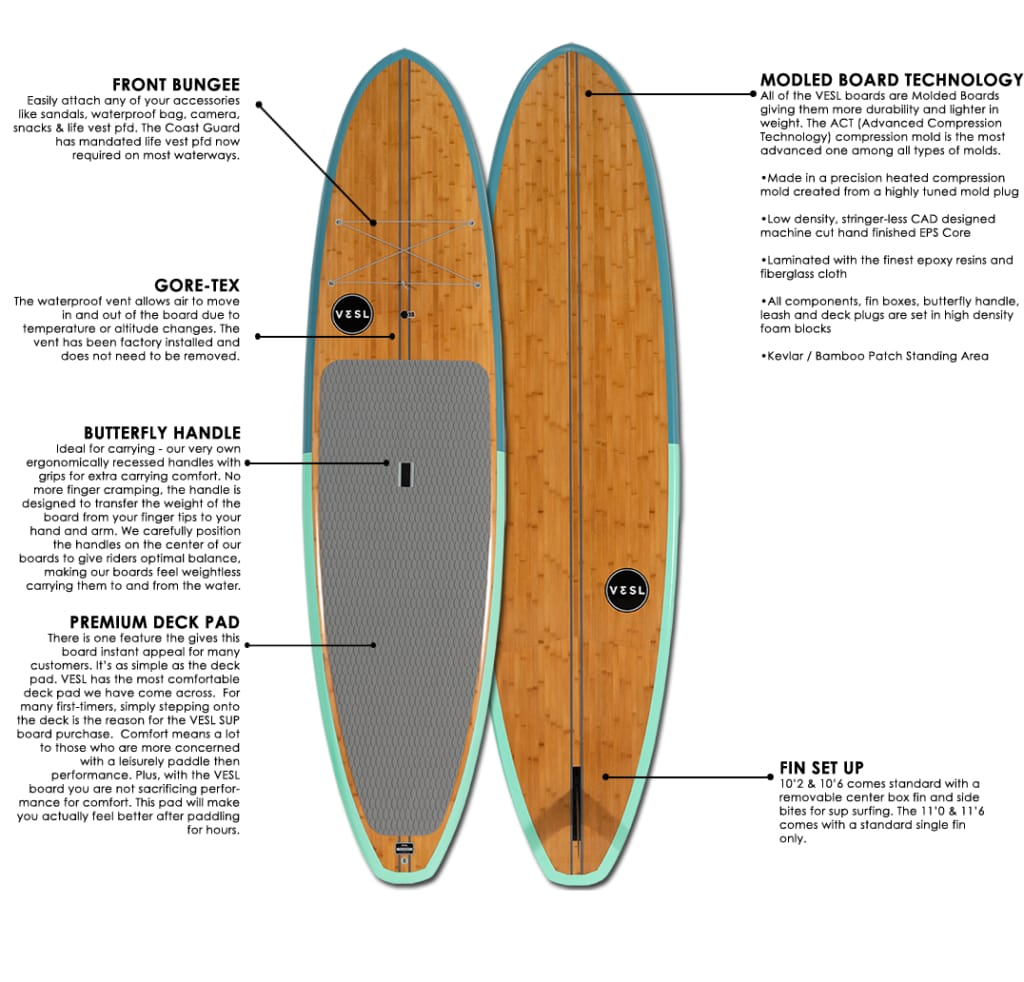vesl bamboo paddle board specifications