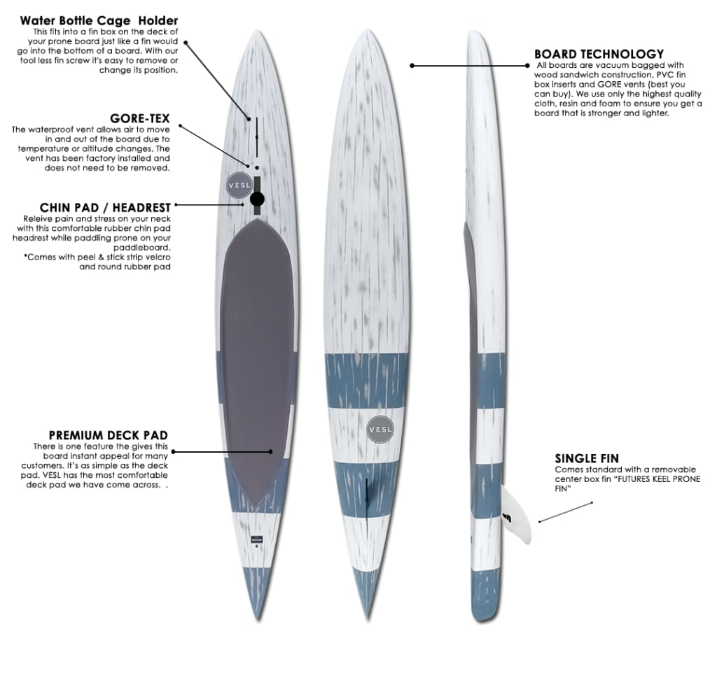 vesl prone paddle board spec sheet