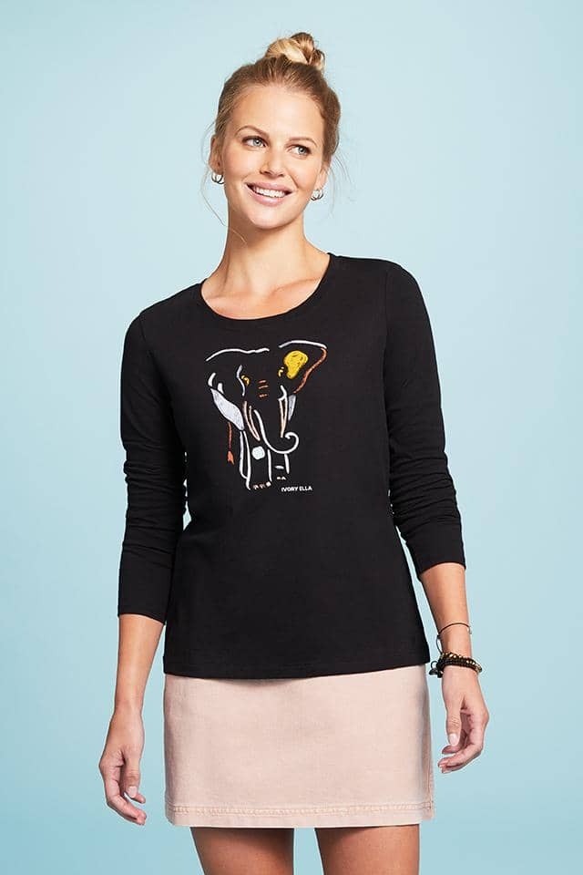 Elephant Shapes Slim Long Sleeve T-Shirt