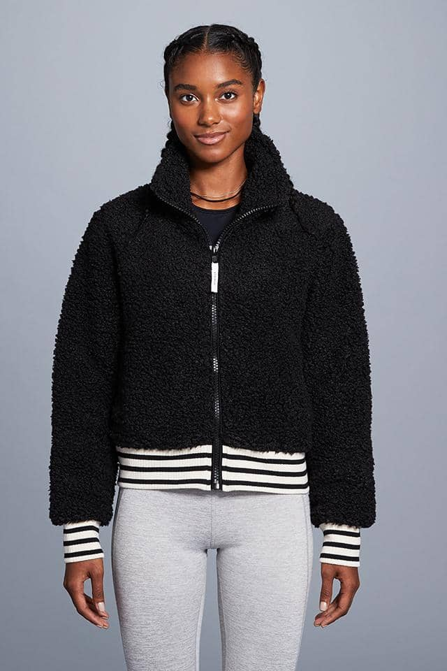 Cropped Full Zip Sherpa Bomber Jacket