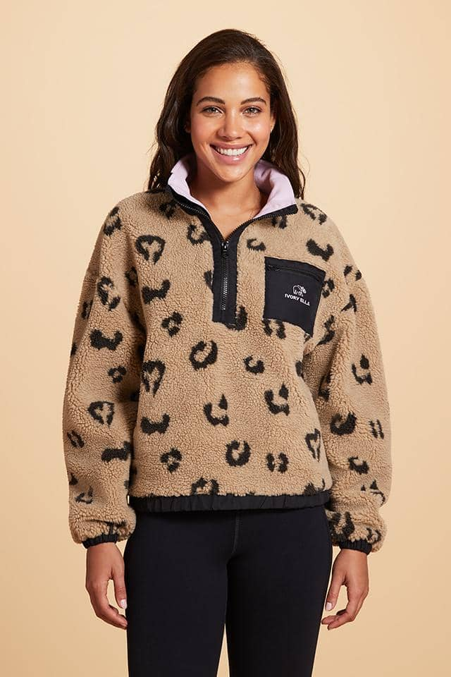 Leopard Quarter Zip Sherpa Jacket