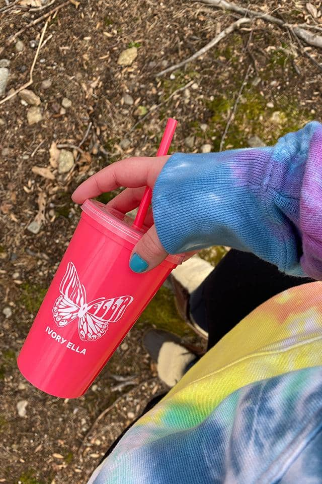 20oz Butterfly Tumbler & Straw