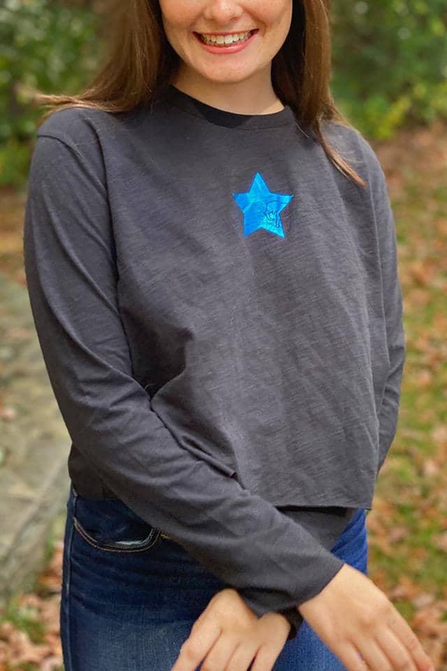Foil Star Cropped Long Sleeve T-Shirt